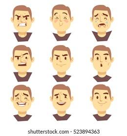 Man emotions faces cartoon business characters set. Mood joyful or aggressive, character face sad or happy illustration