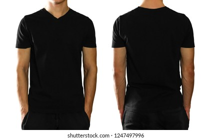 A man in an empty clean black t-shirt. Isolated on white background