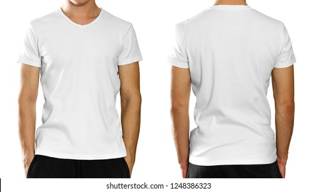 A man in an empty clean white t-shirt. Isolated on grey background