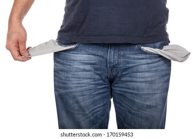 Man with empty pocket on white background