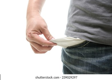 Man with empty pocket on white background isolated