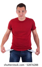 man with empty pockets, isolated on white background. Studio shot