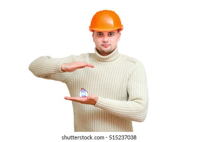 The man the engineer in an orange helmet symbolizes safety of the house.