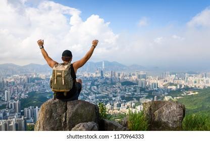 Man enjoying the Hong Kong view from the Lion rock