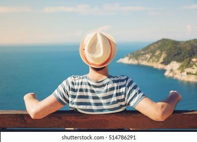 Man enjoying on the beach.