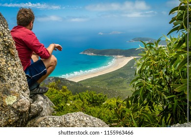 Man enjoying the view from Mount Oberon at Wilsons promontory