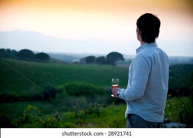 man enjoying wine and looking beautiful view of vineyard