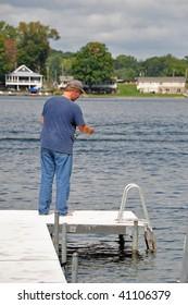 a man enjoys a day fishing