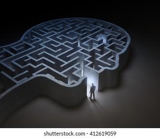 Man entering a maze inside a head - 3D illustration
