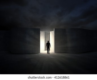 Man entering a mysterious maze - 3D rendering