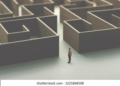 man entering in a wooden complex maze