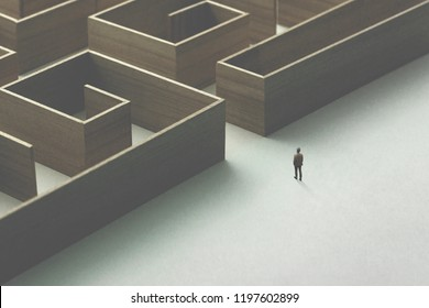 man entering wooden maze