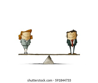 Man is equal to woman business concept. isolated, white background