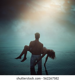 Man in ethereal water with dead lover. Dark romance