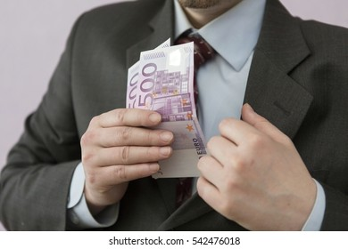 Man with euros in the hands.