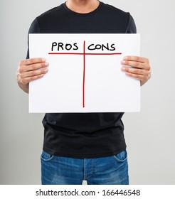 Man evalutating pros and cons