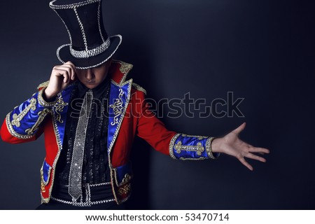 Man in expensive suit of illusionist-conjurer. Photo with copyspace.