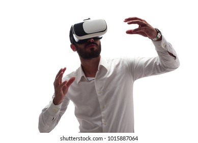 Man experiencing virtual reality wearing virtual reality glasses