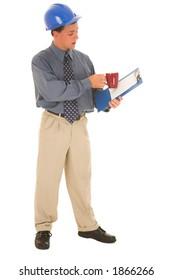 Man explaining work on clipboard.