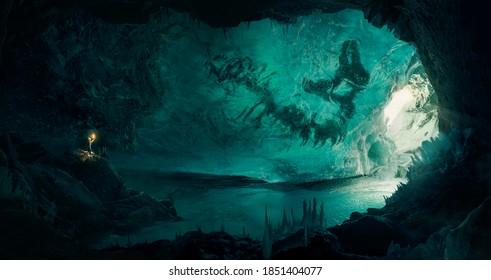 Mann (Entdecker), der ein großes gefrorenes Fossil in einer schönen Eishöhle entdeckt