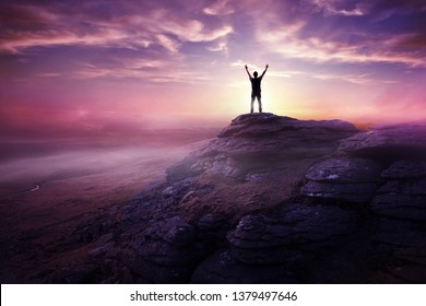 A man expressing freedom by reaching up to the sky as the sun sets in the distance. Hopes and dreams photo composite.