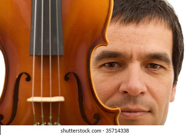 Man face behind with violin detail - closeup, isolated