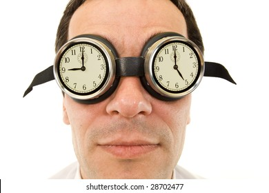 Man face with goggles showing clocks - nine to five job concept, isolated
