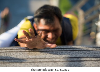 A Man Falling Down Stairs Hands Up need some help, despair and stress people, feel stressful, bad situation concepts.