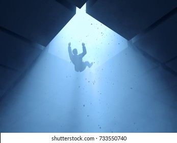 man falling into a hole, 3d illustration