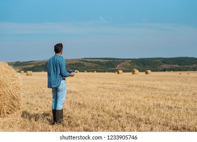 Man farmer agronomist in jeans and shirt stands back in field after haymaking, with tablet looking into the distance. Rural business, agricultural industry, freedom after work, concept