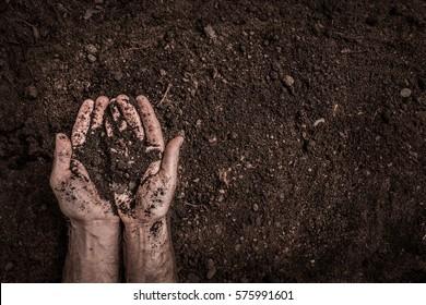 Der Mensch (Bauer) legt die Hände auf den von oben aufgefangenen Bodenhintergrund (Draufsicht, flache Lage). Landwirtschafts-, Gartenbau- oder Ökologie-Konzept-Layout mit kostenlosem Text- (Kopienraum).