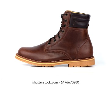 Man fashion brown boot leather isolated on a white background.