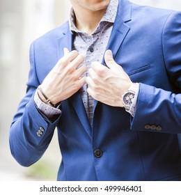 Man in fashion clothes, shirt, jacket,watch