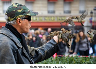 Man feeding birds in his hand, Picture took in front of Notre Dame Cathedral, Paris, France, in October 2011.