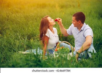 Man feeding woman with strawberry on picnic