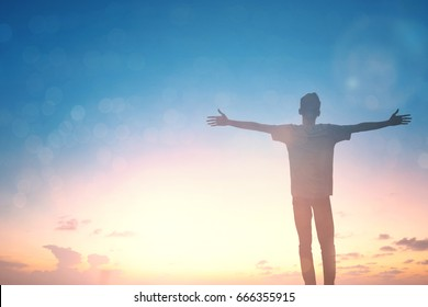 Man feel good fitness for happy health open arms up worship spirit on Easter day. Christian motivation mission praise God on good friday background. Fitness man self confident concept hope wisdom.