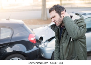 Man feeling bad after one car crash accident
