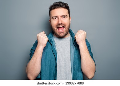 Man feeling good after big win isolated background
