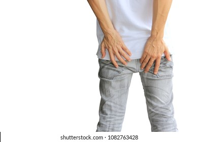 Man feeling pain the butt and has diarrhea or hemorrhoids holding her butt on white background, Healthy concept