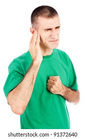 Man feeling pain in ear, isolated on white background