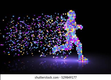 Man figure consisting of glowing pixels runs through darkness