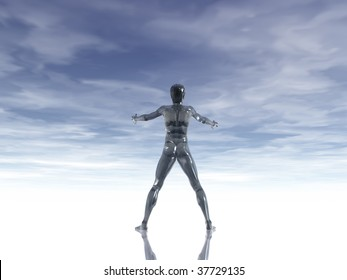 man figure with open arms under cloudy blue sky - 3d illustration
