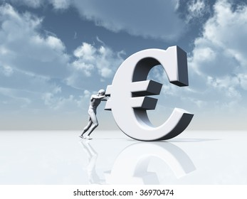 man figure pushes euro sign under cloudy blue sky - 3d illustration