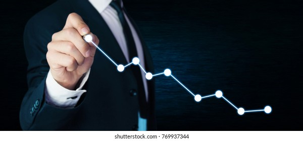 Man with financial chart. Growth concept.