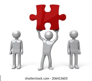 Man finds piece of the Puzzle. Silver figure holding up a red jigsaw piece amongst a group of other figures. Concept for problem solving or success.  3D rendered on white background.