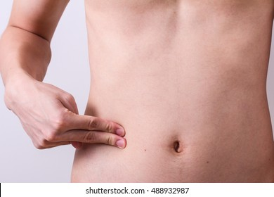 man finger push at belly or appendix
