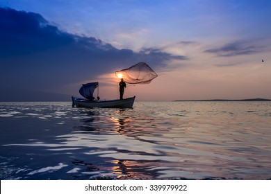 Man fishing on boat