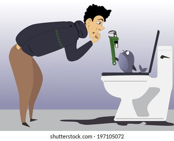 Man is fixing leaking toilet with a held from his pet fish