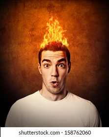 man with flaming hair