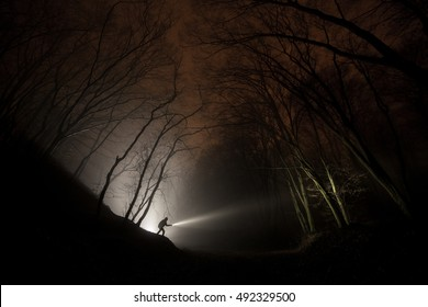 Man with flashlight in forest